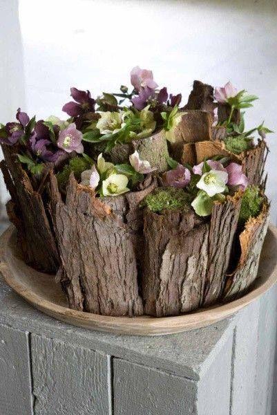 Joli vase DIY en écorce.