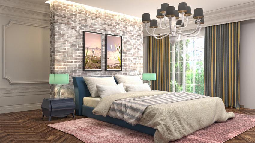 Chambre à coucher vintage avec pan de mur en briques rouges.